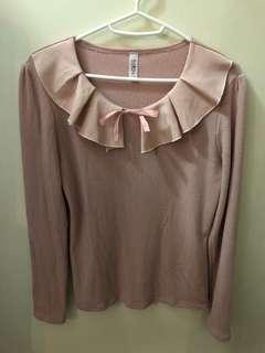 全新 韓國衫 韓國top 韓國長袖衫 蝴蝶結 pink top (Made in Korea)