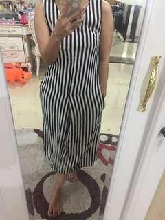 Stripe B&W midi jumpsuit
