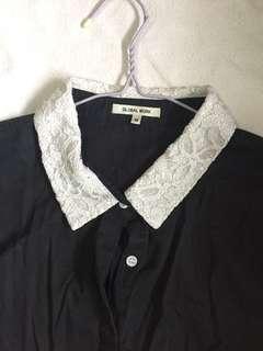 peter pan collar lace t-shirt dress