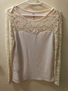 全新 韓國top 韓國衫 Lace Top 白色 長袖lace衫 心形胸 (Made in Korea)