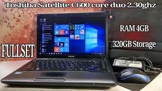 Laptop Toshiba Satellite core duo RAM 4GB 320GB FULLSET NO MINUS