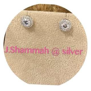 🚚 925純銀珠寶等級鑲工耳環(白k金)