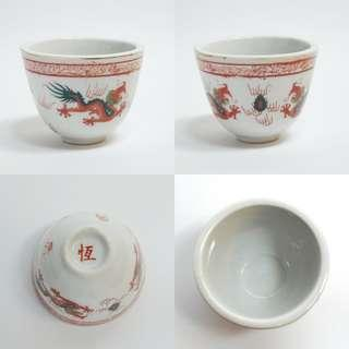 Vintage chinese antique hand painted dragon porcelain tea cup 手绘龙茶杯