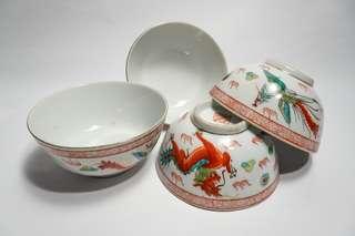 龙凤碗 4pcs Vintage chinese antique hand painted dragon and phoenix porcelain bowl