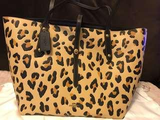 NWT COACH Market Leather Tote 32729 Leopard Print w/ Black & Dust Bag