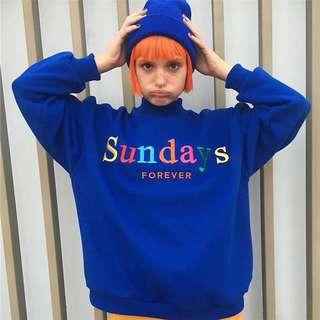 [PO] sundays forever multicolour letter print sweater