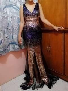 FOR RENT FULL SEQUINS SEXY GOWN BLUE AND ROSE GOLD