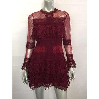Deep Red Spot Sheer Mesh Lace Mini Dress/Self Portrait