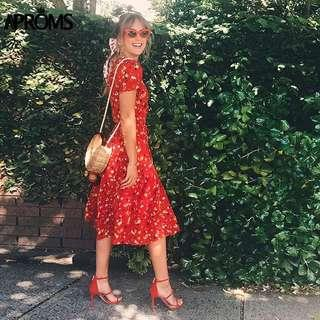 NEW - Sweet Red Floral Dress