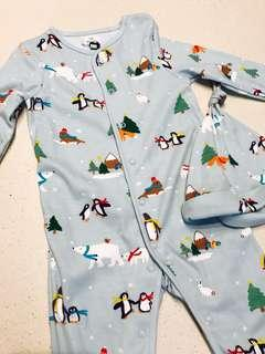 Brand New John Lewis UK Christmas Wonderland Penguin Polar Bears Joy Love One piece Sleepsuit With Hat (like Mothercare le petit sea apple gap next Bodysuit romper Santa Snowman) UNISEX 9-12 months baby