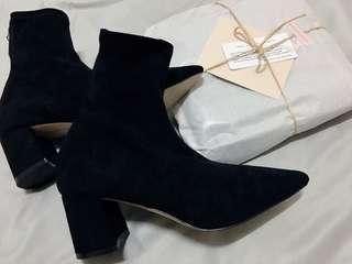 🚚 韓-尖頭麂皮跟鞋