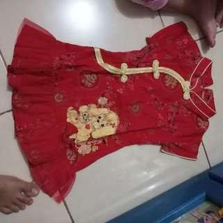 dress cheongsam anak bahan katun mix tile