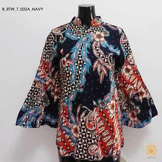 Batik Mandarin Collar in bell sleeves (Navy)