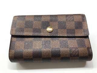 Authentic Louis Vuitton Medium Trifold Wallet Damier Ebene N61202