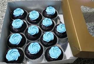 Box-of-12 Moist Belgian Chocolate Cupcakes with Vanilla Icing