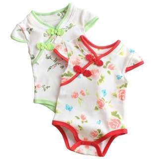 🚚 Instock - cute floral cheongsam romper, baby infant toddler girl
