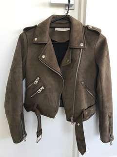 ZARA Suede Look Biker Jacket XS