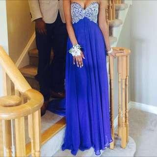 Royal blue PROM DRESS/formal dress with embellishments and corset back!