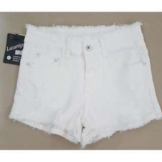 Ribbed Jeans Shorts Frayed White Jeans Shorts