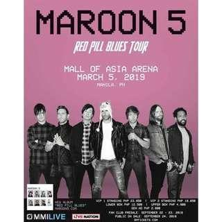 Maroon 5 Live in Manila (3 Gen Ad not seated together)