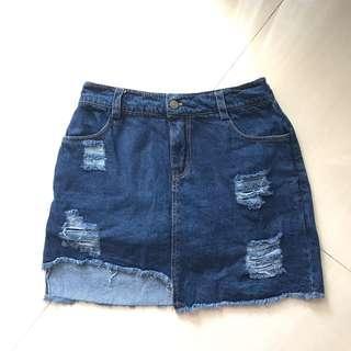 Ripped skort jeans