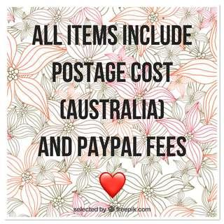 My items include postage costs