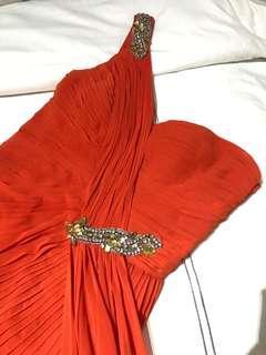 Galla dress red silk, branded with glitter