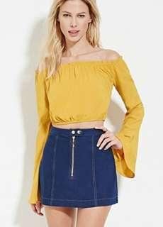 🚚 Ochre Yellow Ruffled Off Shoulder top with bell sleeves