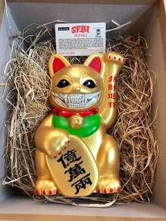 Ron english gold lucky cat grin 招財貓