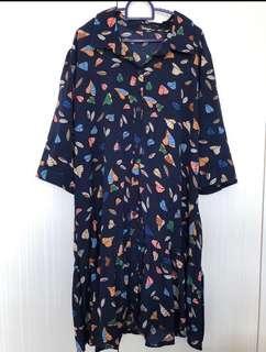 Plus size multi leaves blue hem ruffle mermaid dress