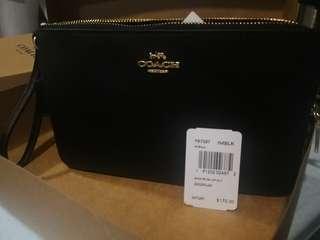 Coach Peppble Leather Double Zip Wristlet Wallet F87587 IMBLK Black