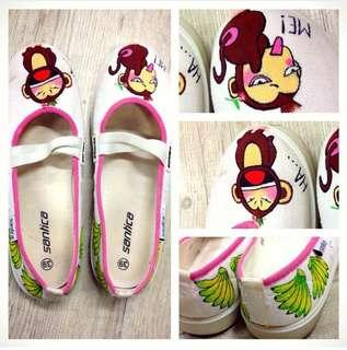 Cute Monkey Graphic Flats (price updated today only)