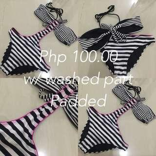 Black & White Stripes one piece Swimsuit