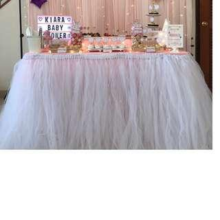 [RENTAL] Dessert Table_Party Props_White Table Tutu Skirting