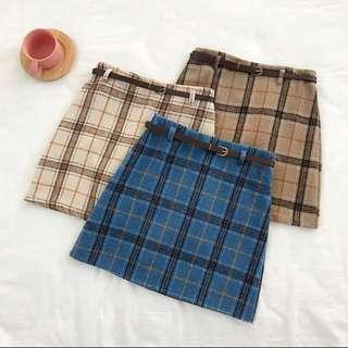 PO585: PLAID GINGHAM CHECKERED FLANNEL A-LINE TAILORED SKIRT WITH BELT