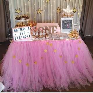 [RENTAL] Dessert Table_Party Props_Pink Table Tutu Skirting