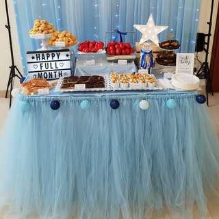 [RENTAL] Dessert Table_Party Props_Light Blue Table Tutu Skirting