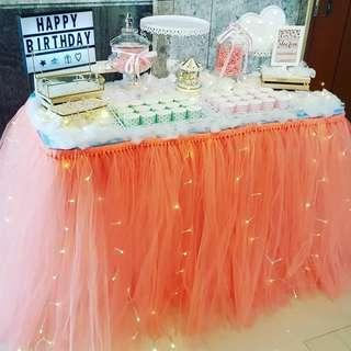 [RENTAL] Dessert Table_Party Props_Peach Orange Table Tutu Skirting