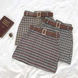 PO586: GINGHAM CHECKERED PLAID FLANNEL A-LINE TAILORED SKIRT WITH BELT