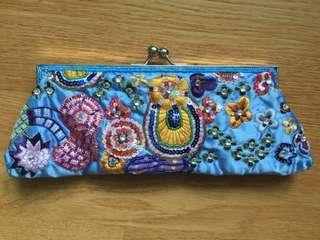 Blue Beaded Dinner Clutch / Bag