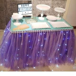 [RENTAL] Dessert Table_Party Props_Purple Table Tutu Skirting