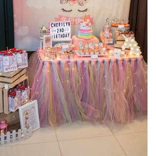 [RENTAL] Dessert Table_Party Props_Pastel Rainbow Table Tutu Skirting