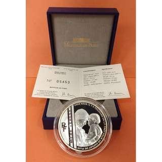 (特價不議)2010年法國德蘭修女(Mother Teresa) 22.2克精鑄銀幣 (原裝盒、證書 齊全)
