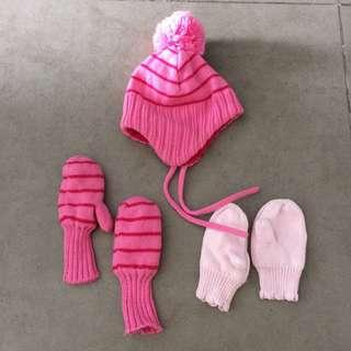 Preloved H&M baby winter hat and gloves, 6-12mths