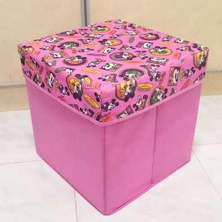 [REDUCED] Pink spacious collapsible Mickey canvas box and stool