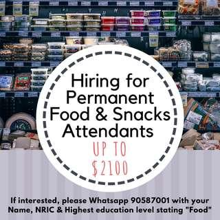 Foodhall Section Attendants | Min PSLE | Up to $2100