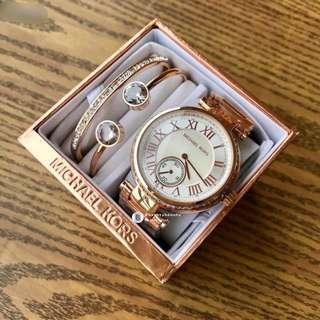 Michael Kors Women Watch 3 pieces set - rose gold white base crystal surrounding 38mm