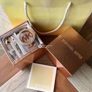 Michael Kors Women 3 pieces set - rose gold monogram with crystal base 38mm
