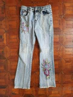 Blue Straight Cut Jeans with Embroidery and Gems