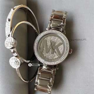 Michael Kors Women Watch 3 pieces set - silver monogram with crystal base 38mm
